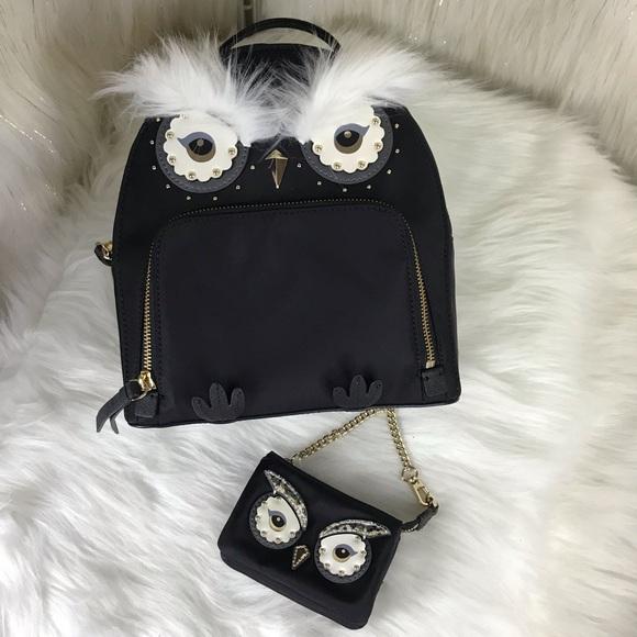 b71bc0debda4c Kate Spade Owl Tomi Black Nylon Backpack Wallet